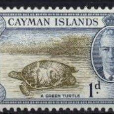 Sellos: CAYMAN ISLAND/1950/MH/SC#122, 124, 128/ REY JORGE VI / TORTUGA VERDE / LORO / AVES / BOTES / VELERO. Lote 213404315