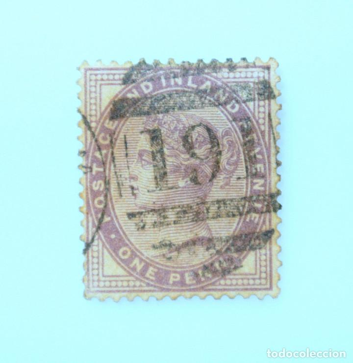 SELLO POSTAL REINO UNIDO 1855, 1 PENNY , RECIBO DE INGRESOS DE LA REINA VICTORIA, USADO (Sellos - Extranjero - Europa - Gran Bretaña)