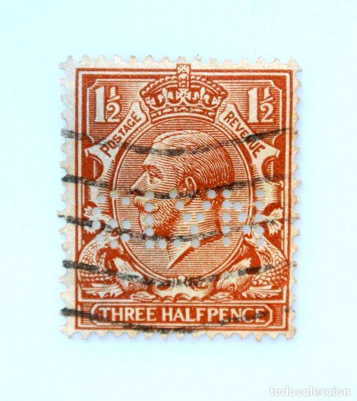 SELLO POSTAL GRAN BRETAÑA REINO UNIDO 1912, 1 1/2 D, REY GEORGE V ,PERFORACION GLYM ,USADO (Sellos - Extranjero - Europa - Gran Bretaña)