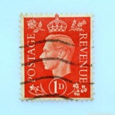 Sellos: SELLO POSTAL GRAN BRETAÑA REINO UNIDO 1937, 1 D, REY GEORGE VI ,USADO. Lote 236776465