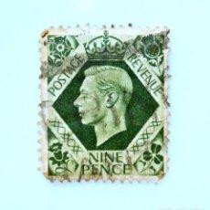 Sellos: SELLO POSTAL GRAN BRETAÑA REINO UNIDO 1939, 9 D, REY GEORGE VI ,USADO. Lote 236777610