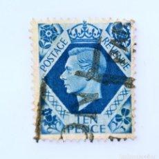 Sellos: SELLO POSTAL GRAN BRETAÑA REINO UNIDO 1939, 10 D, REY GEORGE VI ,USADO. Lote 236778970