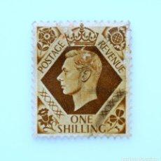 Sellos: SELLO POSTAL GRAN BRETAÑA REINO UNIDO 1939, 1 S, REY GEORGE VI ,USADO. Lote 236780345