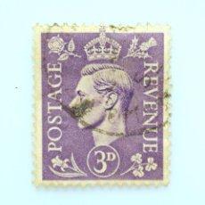Sellos: SELLO POSTAL GRAN BRETAÑA REINO UNIDO 1941, 3 D, REY GEORGE VI ,USADO. Lote 236816690