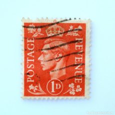 Sellos: SELLO POSTAL GRAN BRETAÑA REINO UNIDO 1941, 1 D, REY GEORGE VI ,USADO. Lote 236818510