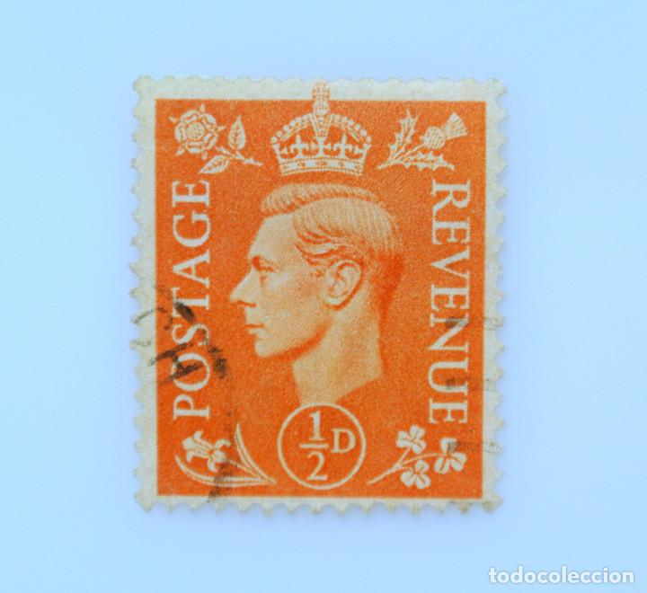 SELLO POSTAL GRAN BRETAÑA REINO UNIDO 1951, 1/2 D, REY GEORGE VI ,USADO (Sellos - Extranjero - Europa - Gran Bretaña)