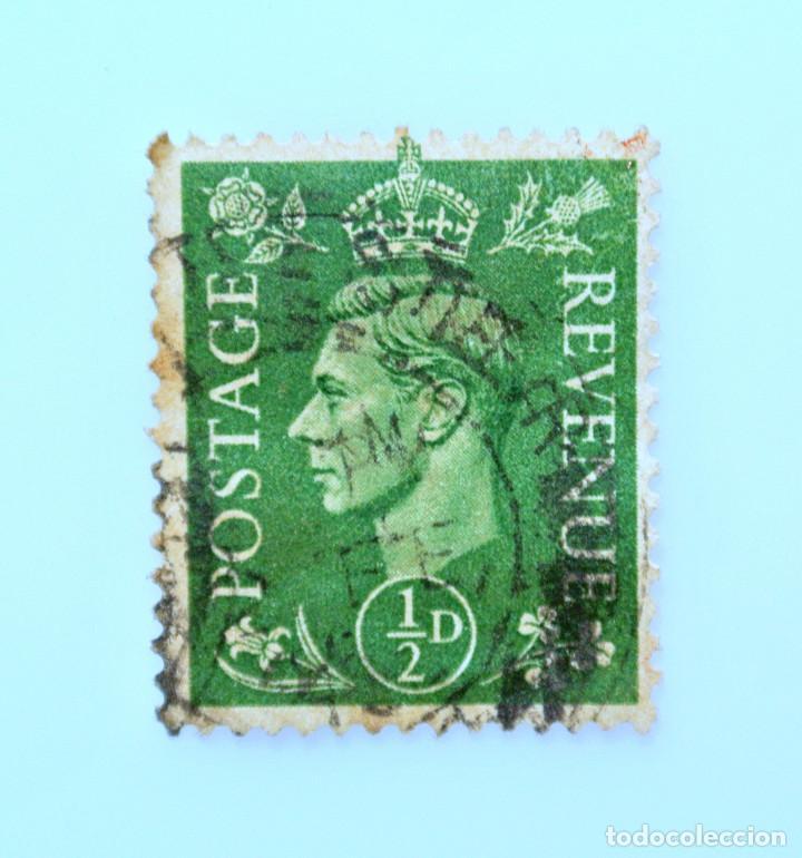 SELLO POSTAL GRAN BRETAÑA REINO UNIDO 1937, 1/2 D, REY GEORGE VI ,USADO (Sellos - Extranjero - Europa - Gran Bretaña)