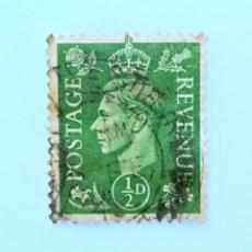 Sellos: SELLO POSTAL GRAN BRETAÑA REINO UNIDO 1937, 1/2 D, REY GEORGE VI ,USADO. Lote 236820920