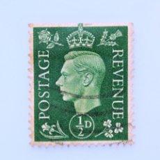 Sellos: SELLO POSTAL GRAN BRETAÑA REINO UNIDO 1941, 1/2 D, REY GEORGE VI ,USADO. Lote 236821795