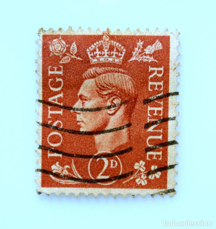 SELLO POSTAL GRAN BRETAÑA REINO UNIDO 1951, 2 D, REY GEORGE VI ,USADO (Sellos - Extranjero - Europa - Gran Bretaña)