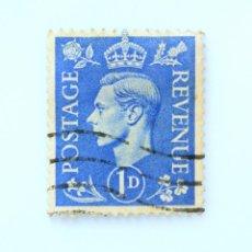 Sellos: SELLO POSTAL GRAN BRETAÑA REINO UNIDO 1951, 1 D, REY GEORGE VI ,USADO. Lote 236826185