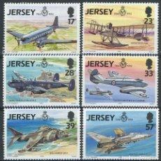 Sellos: JERSEY 1993 IVERT 609/14 *** HISTORIA AVIACIÓN (V) - 75º ANIVERSARIO ROYAL AIR FORCE - AVIONES. Lote 239446530