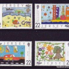 Sellos: JERSEY 2000 IVERT 923/6 *** DIBUJOS DE NIÑOS SOBRE EL FUTURO - CONCURSO MUNDIAL. Lote 239668205