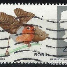 Selos: GRAN BRETAÑA 1966 - FAUNA, PÁJAROS, PETIRROJO EUROPEO. ERITHACUS RUBECULA - USADO. Lote 242374870