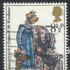 Selos: GRAN BRETAÑA 1975 - 2º CENT.DEL NACIMIENTO DE JANE AUSTEN, EMMA Y EL DR.WOODHOUSE - USADO. Lote 243479880