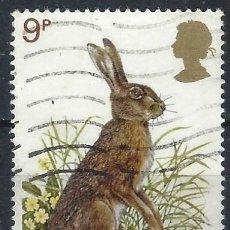 Selos: GRAN BRETAÑA 1977 - FAUNA DE GRAN BRETAÑA, LIEBRE - USADO. Lote 243516340