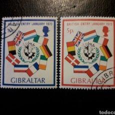 Sellos: GIBRALTAR (GRAN BRETAÑA) YVERT 292/3 SERIE CTA USADA 1973 ENTRADA CEE. BANDERAS. PEDIDO MÍNIMO 3 €. Lote 243858250