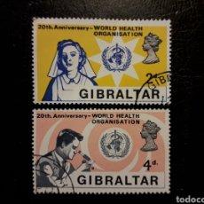 Sellos: GIBRALTAR (GRAN BRETAÑA) YVERT 221/2 SERIE COMPLETA USADA 1968 OMS ENFERMERA. PEDIDO MÍNIMO 3 €. Lote 243861990