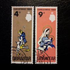 Sellos: GIBRALTAR (GRAN BRETAÑA) YVERT 215/6 SERIE COMPLETA USADA 1968. NAVIDAD. PEDIDO MÍNIMO 3 €. Lote 243862390