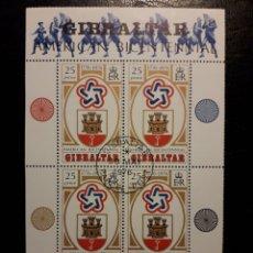 Sellos: GIBRALTAR (GRAN BRETAÑA) YV HB-2 SERIE CTA USADA 1976. BICENTENARIO USA. ESCUDOS.. Lote 243867895