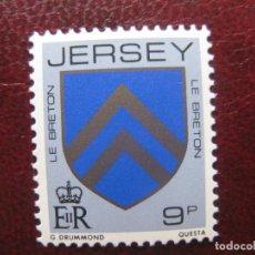 Sellos: +JERSEY, 1981, BLASONES DE FAMILIAS DE JERSEY, LE BRETON, YVERT 245. Lote 244490365