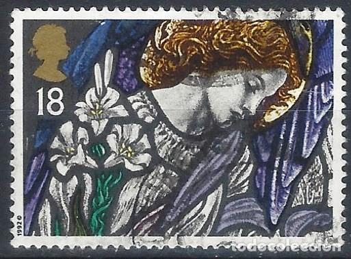 GRAN BRETAÑA 1992 - NAVIDAD, VIDRIERAS, ÁNGEL GABRIEL. ST JAMES'S, PANGBOURNE - USADO (Sellos - Extranjero - Europa - Gran Bretaña)