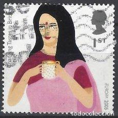 Sellos: GRAN BRETAÑA 2005 - GASTRONOMÍA, NUEVOS SABORES EN G.BRETAÑA, EUROPA, INDIA BEBIENDO TÉ - USADO. Lote 245180440
