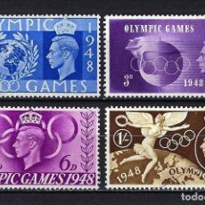 Timbres: 1948 REINO UNIDO - INGLATERRA YVERT 241/244 JUEGOS OLÍMPICOS LONDRES MNH** NUEVOS SIN FIJASELLOS. Lote 251134685