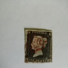 Sellos: PERFIL DE LA REINA VICTORIA - ONE PENNY BLACK - I-B -MATASELLADO EN ROJO- PRIMER SELLO DATA DE 1840.. Lote 251211000
