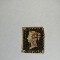 Sellos: PERFIL DE LA REINA VICTORIA - ONE PENNY BLACK - A-D -MATASELLADO EN ROJO- PRIMER SELLO DATA DE 1840.. Lote 251212785