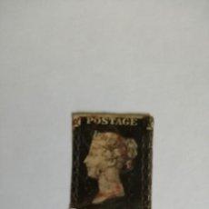 Sellos: PERFIL DE LA REINA VICTORIA - ONE PENNY BLACK - T-F -MATASELLADO EN ROJO- PRIMER SELLO DATA DE 1840.. Lote 251213185