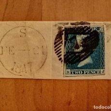 Sellos: PERFIL DE LA REINA VICTORIA - TWO PENCE - BLUE - K-J- AÑO 1840-1858 - EFIGIE DE LA REINA VICTORIA.. Lote 251280360