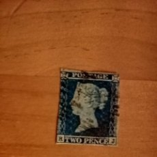 Sellos: PERFIL DE LA REINA VICTORIA - TWO PENCE - BLUE - R-J - AÑO 1840-1858 - EFIGIE DE LA REINA VICTORIA.. Lote 251280545