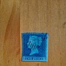 Sellos: PERFIL DE LA REINA VICTORIA - TWO PENCE - BLUE - I-D - AÑO 1840-1858.. Lote 251375610