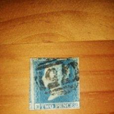 Sellos: PERFIL DE LA REINA VICTORIA - TWO PENCE - BLUE - B-G - AÑO 1840-1858.. Lote 251526230