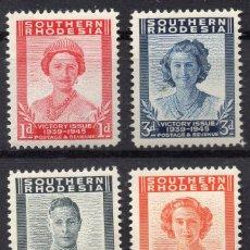 Sellos: SOUTHERN RHODESIA/1947/MNH/SC#67-70/ EMISION DE VICTORIA WWII / KGVI / SET COMPLETO. Lote 252750900