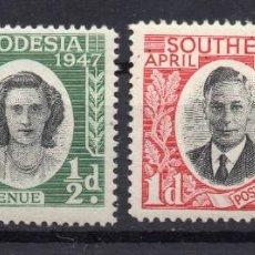 Sellos: SOUTHERN RHODESIA/1947/MNH/SC#65-6/VISITA DE LA REAL FAMILIA / REY JORGE VI / KGVI / SETCOMPLETO. Lote 252755005