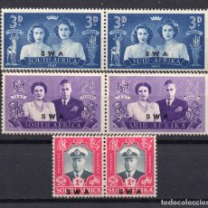Sellos: SOUTH WEST AFRICA/1947/MNH/SC#156-8/ EMISION VISITA REAL / PAIRS / SET COMPLETO. Lote 252756790