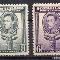 Sellos: SOMALILAND PROTECTORATE/1942/MNH/SC#101-2/ REY JORGE VI / KGVI / 6A PURPURA LE & 8A GRIS. Lote 252758210