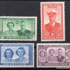 Sellos: SWAZILAND/1947/MH/SC#44-47/ VISITA DE LA FAMILIA REAL / REY JORGE VI / KGVI / SET COMPLETO. Lote 252758825