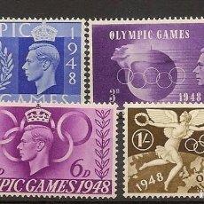Sellos: INGLATERRA YVERT 241/244** MNH JUEGOS OLÍMPICOS SERIE COMPLETA 1948 NL578. Lote 253910220