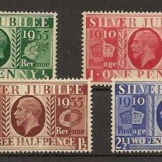 Sellos: INGLATERRA YVERT 201/204* MH JUBILÉ GEORGE V SERIE COMPLETA 1934 NL1496. Lote 254168075