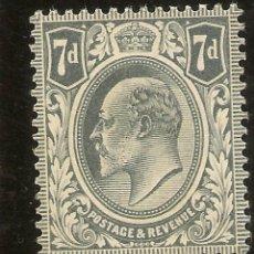 Sellos: INGLATERRA IVERT 123** MNH 7 PENIQUES GRIS 1909/1910 NL1525. Lote 254170290