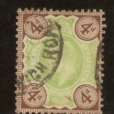 Sellos: INGLATERRA YVERT 112 (º) 4 PENIQUES BRUN Y VERDE 1902/1910 NL1526. Lote 254172250