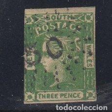 Sellos: NUEVA GALES DEL SUR COLONIA BRITÁNICA .18 MARGEN CORTO USADA,. Lote 257446735