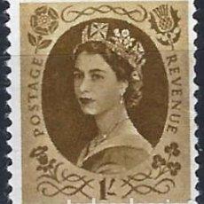 Selos: GRAN BRETAÑA 1958-67 - ISABEL II, 1 SHILLING MARRÓN OLIVA - USADO. Lote 263570355