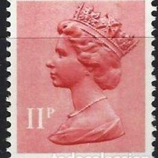 Sellos: GRAN BRETAÑA 1976 - ISABEL II, 11 P ROJO CLARO O ROSA - M SIN GOMA. Lote 263756555
