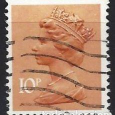 Sellos: GRAN BRETAÑA 1976 - ISABEL II, 10 P NARANJA PARDUZCO - USADO. Lote 263757000