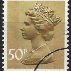 Sellos: GRAN BRETAÑA 1977 - ISABEL II, 50 P MARRÓN OLIVA - USADO. Lote 263758395