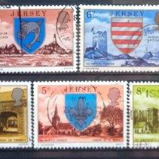 Francobolli: JERSEY ESCUDOS DE LA ISLA SERIE DE SELLOS USADOS. Lote 269191733